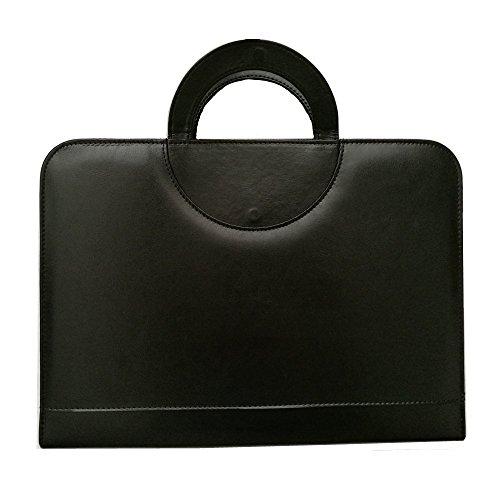 PU-Leder A4mit Reißverschluss Konferenz Ordner Datei Padfolio Portfolio Schreibblock mit Taschenrechner Dokument Fall Tasche mit tragbaren rund Griff schwarz - Leder Datei Tragetaschen