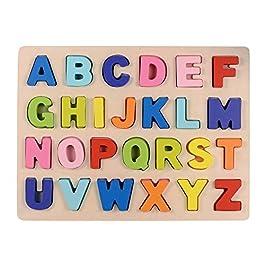 Afunti Legna Puzzle di Legno ABC Alfabeto Puzzle tavola Giocattoli educativi Blocchi Presto apprendi