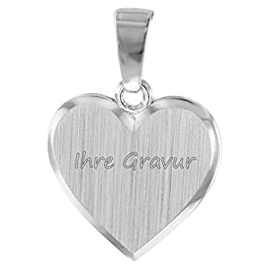 trendor Kinder Herz-Anhänger zum Gravieren Silber 08524 – inklusive Wunsch-Gravur