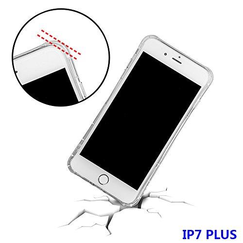 """xhorizon FM8 Elegant Transparent TPU Weich 360 Grad Rotating Kickstand Case Cover für iPhone 7 Plus [5.5""""] mit einem 9H temperiert Glasfilm (Rose-gold) Rose-gold"""