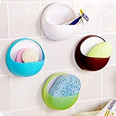 Hanumex Plastic Compact Round Shape Wall Mounted Soap Holder for Bathroom Accessories (Multicolour) - 1 Piece