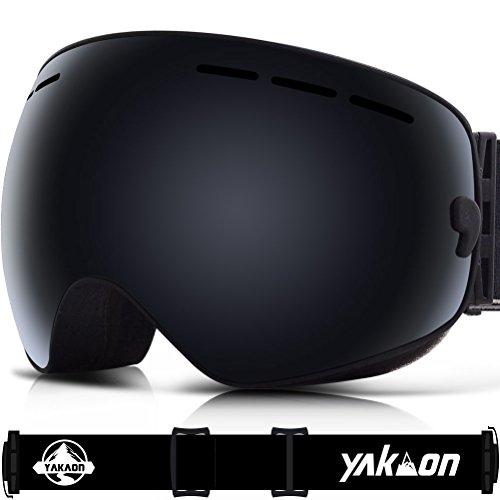 Skibrille für Damen und Herren von Yakaon Y1mit sphärischer Revo-Spiegelscheibe und rutschfestem Umhängegurt, mit Anlaufschutz, UV-Schutz, abnehmbarer Scheibe und Umhängeband, damen, Y1 Black Frame Black Lens VLT 17%