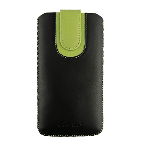 Emartbuy Faux Leather Slide in Pouch Case Cover with Magnetic Flap for MLS iQTalk Onyx Dual Sim (16.5x9.3x1cm) - Black/Green Plain
