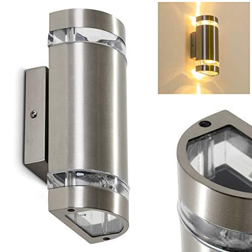 Außenwandleuchte Maturin, Wandlampe aus Metall in Edelstahl mit Kunststoff-Scheiben, Wandleuchte m. GU10-Fassung, max. 35 Watt, Außenleuchte mit Up & Down-Effekt, geeignet für LED Leuchtmittel - Metall-halogen-licht-lampe