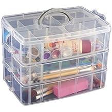 Tinksky Contenitore di archiviazione caso 3 strati staccabili plastica scatola cosmetica gioielli titolare (bianco)