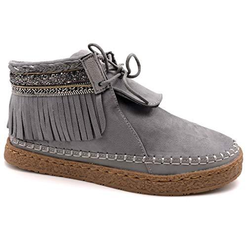 Angkorly - Damen Schuhe Stiefeletten - Mokassin Stiefel - Folk - Fransen - Fantasy - Bestickt Flache Ferse 2 cm - Grau M862 T 36