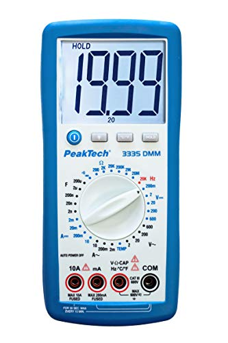 PeakTech 3335 - True RMS Digital Multimeter mit extra großem LCD-Display, Handmultimeter, Data-Hold, Messung, Spannungsmesser, Durchgangsprüfer, Messgerät, Strom, Manuelle Bereichswahl, CAT III - 600V Display Digital Multimeter