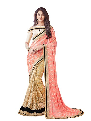 Online Fayda Women\'s Net Saree With Blouse Piece (Of220,Peach And Beige,Free Size)
