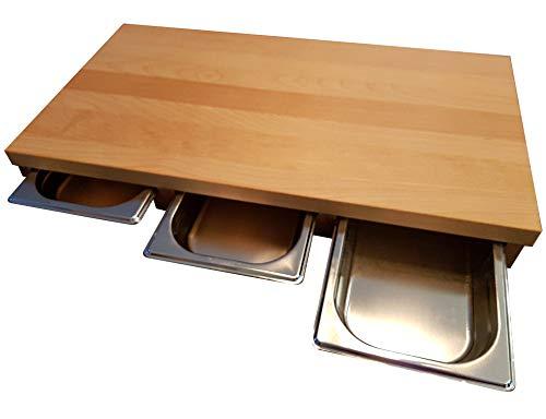 Holzschneidebrett BUCHE Massivholz mit 3 Schubladen 61,5 x 32,5 x 7cm Holzbrett Servierbrett Küche Tranchierbrett Brett Käsebrett Edelstahlschale Schüssel Schneidebrett Brotschneidebrett Küchenbrett