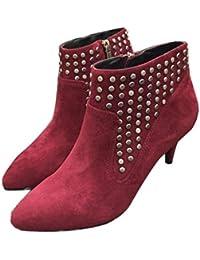 QVRGE Botas De Cuero Otoñales Y De Invierno para Mujer Botas De Tacón Alto ,Red