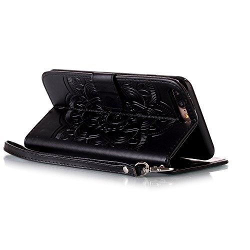 iPhone 8 Plus Hülle, STENES Glitzer Stilvoll Serie Kartenfach Standfunktion Magnet Ledertasche Wallet TPU Stoßfänger Schutzhülle für iPhone 7 Plus / iPhone 8 Plus - Traumfänger & Sonnenblume / Gelb Traumfänger & Sonnenblume / Schwarz