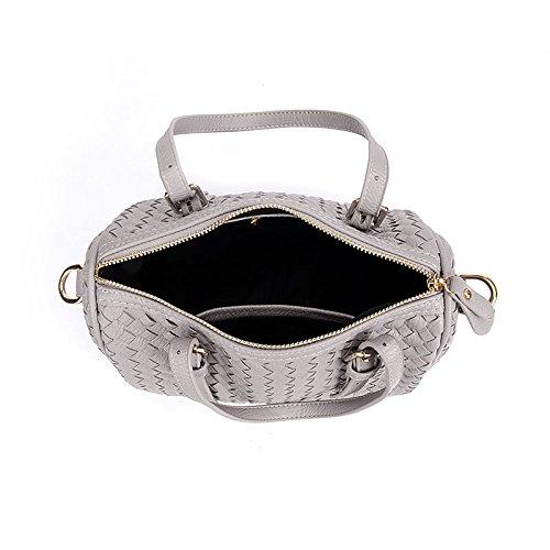PU Cuoio Borsa a Tracolla Messaggero Sacchetto per le Donne Colore Puro-nero grigio 1