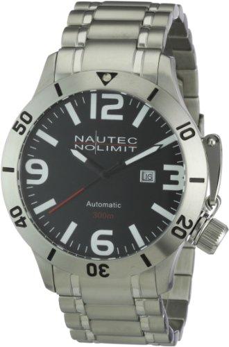 Nautec No Limit Canteen Diver - Reloj analógico de caballero automático con correa de acero inoxidable plateada