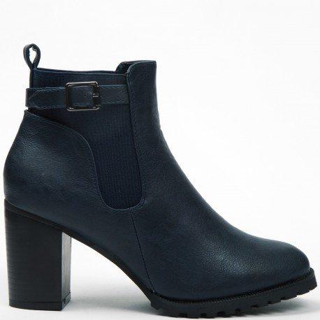 Ideal Shoes - Bottines à talon épais style chelsea avec ceinturon Kahyna Marine