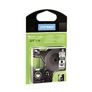 Dymo S0718070 Étiquettes Autocollantes D1, Rouleau de 19mmX5,5 M, Impression en Vert Sur Fond Noir, pour Imprimantes Labelmanager