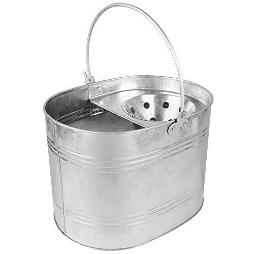 ASAB - Cubo de fregona de Metal Resistente, de Acero galvanizado, Cesta con asa Resistente con escurridor...