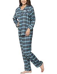Flanell-Schlafanzug für Damen, Shirt mit Knopfleiste - Moonline