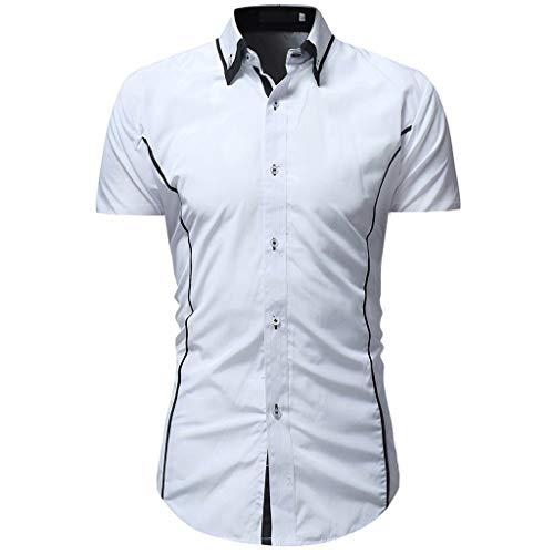 CICIYONER Herren weißes Hemd Slim Fit Kurzarm   Schwarzes Männer Stretch Kurzarmhemd Freizeithemd   Jungen Kurzarmshirt Sommerhemd Business T-Shirt Freizeit Party -