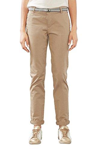 ESPRIT Damen Hose 997EE1B800, Beige (Khaki Beige 250), W40/L32 (Poly Pant Modern Fit)