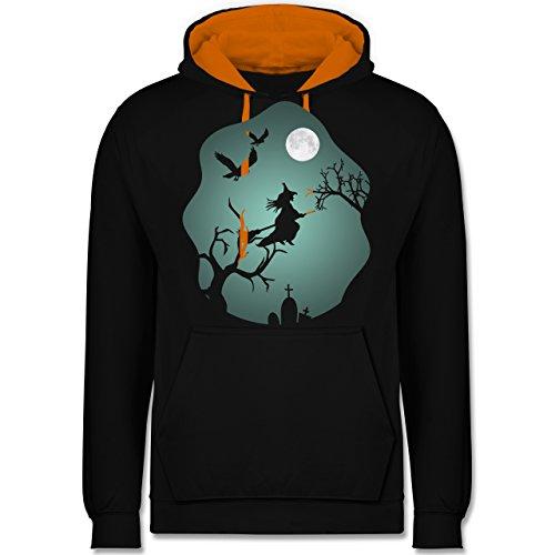 Halloween - Hexe Mond Grusel Grün - Kontrast Hoodie Schwarz/Orange