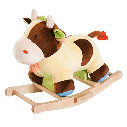 homcom Cavallo a Dondolo Legno Mucca Giocattolo Bambini Cavalcabile Peluche 60 × 34 × 46cm