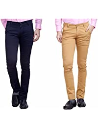Nimegh Navy Blue and Wine Color Cotton Casual Slim fit Trouser For Men's (Pack Of 2)