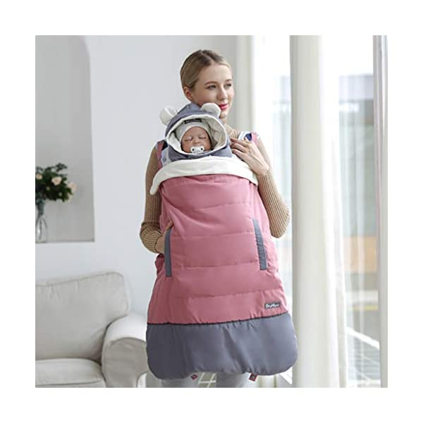 Baby Carrier Cover - Hooded Windproof Waterproof Winter Cloak Pocket Front, Pink WYTbaby Universal - Fits most of the baby carrier. No worry for size issue.Size: 78*64cm Practical - As a baby carrier cover, it also can be used as a blanket cover in pushchairs; buggy; pram ect. Windproof - Cover for baby carrier; Hooded design; Protect baby against wind. Make baby feel cozy and warm in winter or cold day. 2