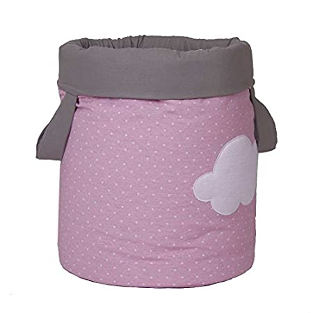 Funny Baby 623203 – wattierter Juguetero, Design: Punkte und Wolken, 30 x 40 cm, rosa