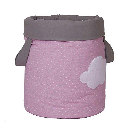 Funny Baby 623203 - Juguetero acolchado 30 x 40 cm, diseño motas y nubes, color rosa