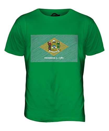 CandyMix Bundesstaat Delaware Kritzelte Flagge Herren T Shirt Grün