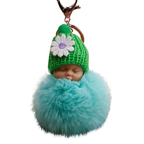 gaddrt 8cm Pompon niedlicher Fell Flauschig Schlafendes Baby Puppe Schlüsselanhänger Schlüsselanhänger Staubbeutel Charm Anhänger - Multi-licht-wand-halterung