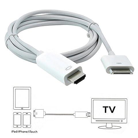 iPhone 4S vers HDMI câble adaptateur, Apple 30broches vers HDMI à haut débit et au chargeur de station d'accueil 1080p HDTV AV câble adaptateur convertisseur câble connecteur pour iPhone 44S iPad 2/3iPod Touch