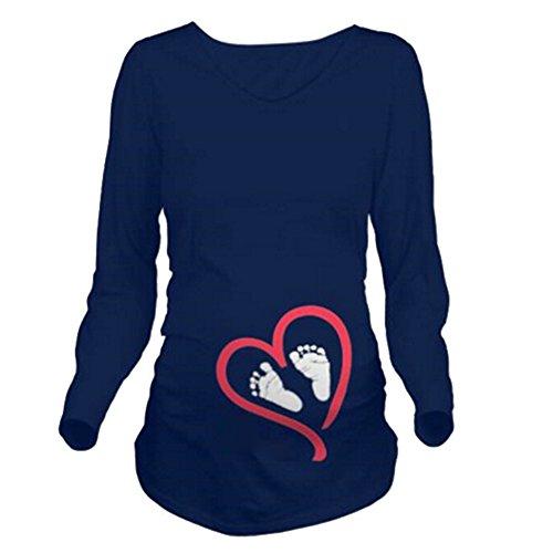Maternity Umstandsmode T-Shirt Langarm Shirt Damen Langarmshirt Umstandsshirt Schwangerschaft Umstands Shirt Jersey Top Pullover Dunkelblauer Fuß XL Meedot