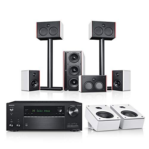 Teufel System 4 THX AVR für Dolby Atmos 5.1.2-Set Weiß/Weiß/Schwarz Film Subwoofer Lautsprecher Movie Musik Raumklang Sound Heimkino DTS HD