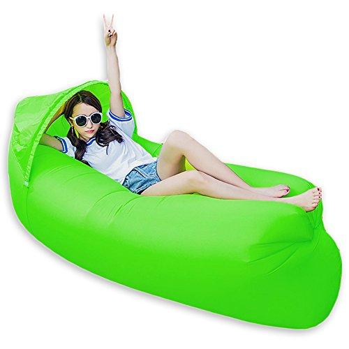0,9kg tragbar Schnell aufblasbar Air Bett/Sofa/Boot für Outdoor Wandern Camping Lounge Strand und Garten Freizeit Schlafsäcke Camping Bett mit Sonnenschirm, grün