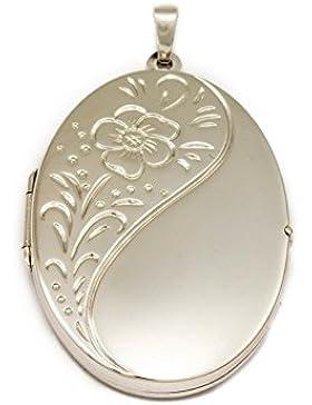 ASS 925 Silber Große Rieße Medaillon-Anhänger,gemustert, oval Kettenanhänger zum Öffnen,42mm