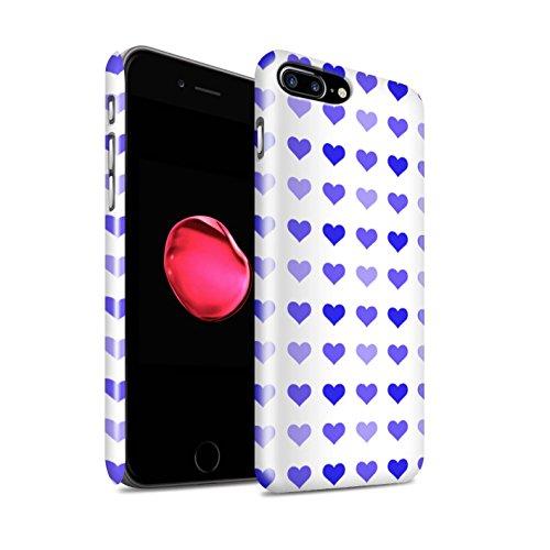 STUFF4 Glanz Snap-On Hülle / Case für Apple iPhone 8 Plus / Rot Muster / Herz Liebe Schablone Kollektion Blau
