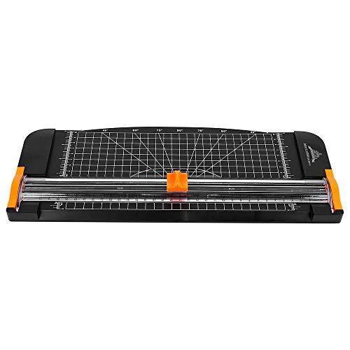 Jielisi Papierschneider Schneidemaschine A4 Tragbar Schneidegerät mit Fingerschutz und Gleitlineal Design Schneidet bis zu 12 Blattes (70g/sm)