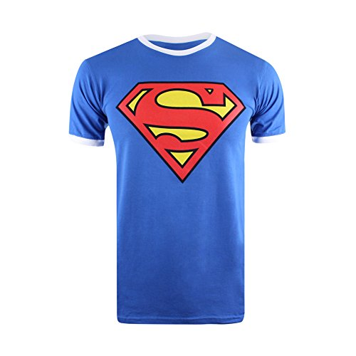 47ee0ae1ab9c1 DC Comic Superman Logo, T-Shirt Homme, Blue (Royal/White)