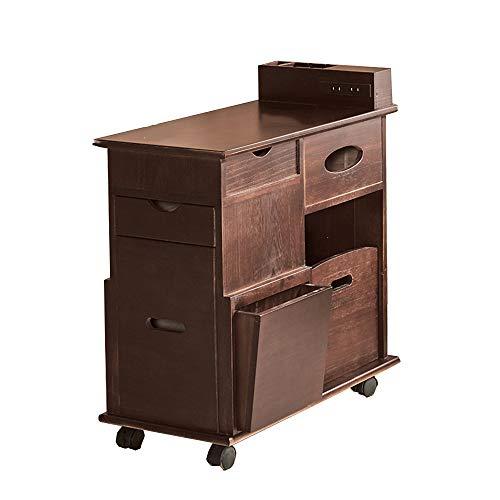 YNN Table Canapé côté Armoire avec Roulette Table Basse en Bois Massif Salon Casier Tiroir 6 Couleurs 28 * 60 * 56.5cm (Couleur : F)