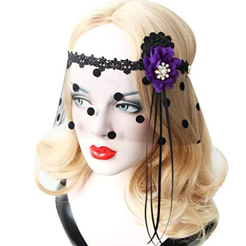 Lurrose Flapper Stirnband mit Schleier Spitzen Maskerade Maske Halbmaske Retro Kostüm - Für Erwachsene Lila Flapper Kostüm