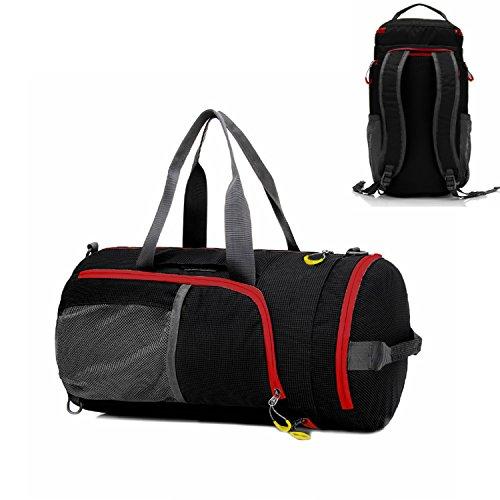 Duffel Bag Waterproof, UBaymax Lightweight Foldable Sports Duffel Gym Bag, Holdall Cross Body Shoulder Backpack 3 in 1 Hybrid Duffel Handbag Travel Hiking Camping Luggage Bag for Men and Women (Black)