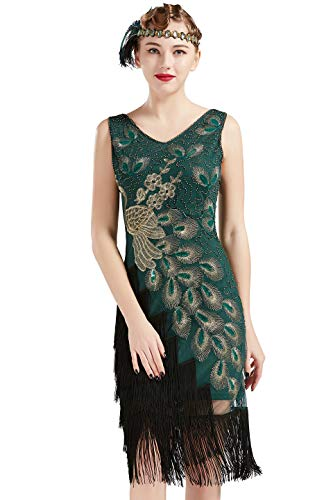 Coucoland 1920s Kleid Damen Pfau Flapper Charleston Kleid V Ausschnitt Great Gatsby Motto Party Damen Fasching Kostüm Kleid (Dunkelgrün, - Flapper Kostüm Für Damen