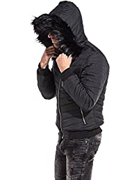 9e4f1bd88c8b PROJECT X Doudoune courte homme noire à capuche fourrure noire