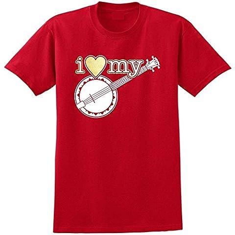 Banjolele Banjo Ukulele I Love My - Musica T Shirt 13 Taglia 5 Anni - (Classica Rock Banjo)