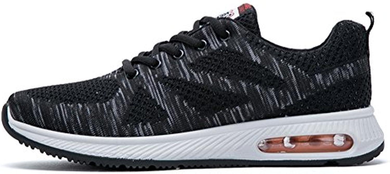 Fexkean Zapatillas de Deporte de Running Gimnasia Correr Para Hombre Sneakers Respirable Gris Naranja Azul 39-45