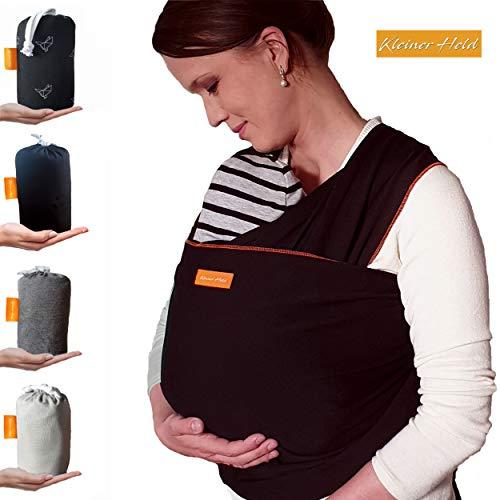 Kleiner Held Babytragetuch hochwertiges elastisches Baby Tragetuch Babytrage für Früh- und Neugeborene Babys ab Geburt bis 15 kg inkl. Wickelanleitung und Aufbewahrungstasche - Farbe schwarz