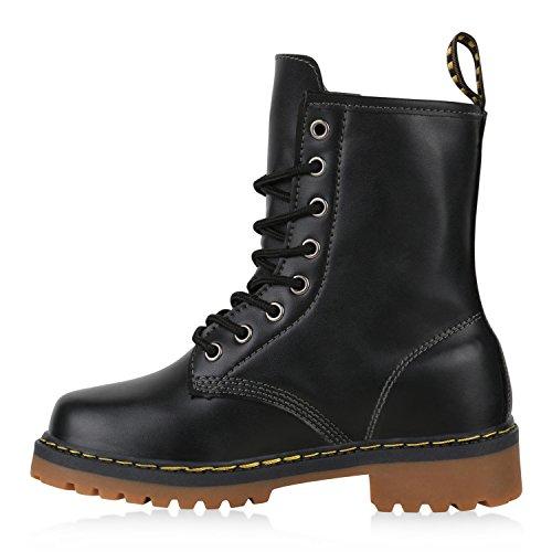 Geschnürte Herren Worker Boots Camouflage Army Look Schuhe Schwarz Kinder