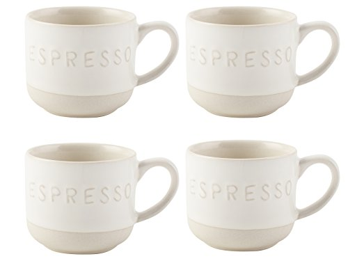 La Cafetiere–Cafetera de émbolo Origins Relieve Tazas de café, gres, Blanco, 4