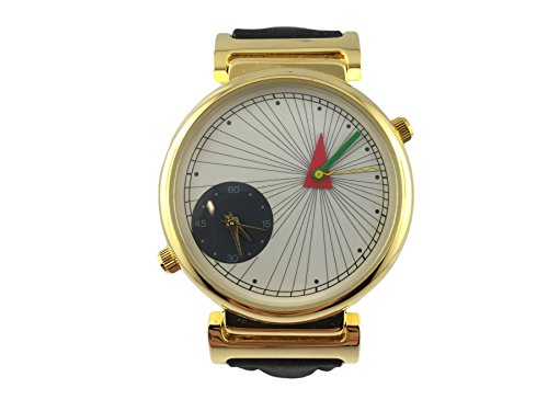 Reloj Zeno, doble huso horario, caja chapado en oro, pulsera cuero negro, arte, Design, Mode